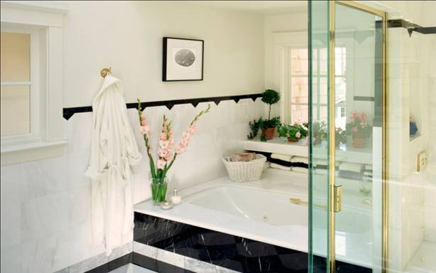 ванная комната с зелёной плиткой фото дизайн #18