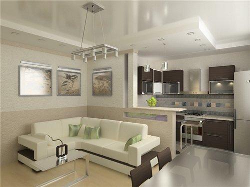 кухня с залом совмещенная фото