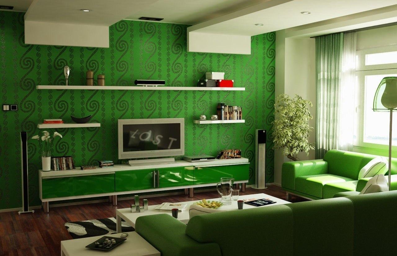 Стены зеленого цвета фото